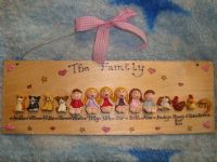 14 CHARACTER LARGE FAMILY OR TEACHER SIGN PLAQUE PEOPLE PETS CAT DOG BIRD ANY PHRASING UNIQUE GIFT